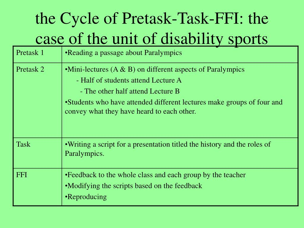 the Cycle of Pretask-Task-FFI: the case of the unit of disability sports