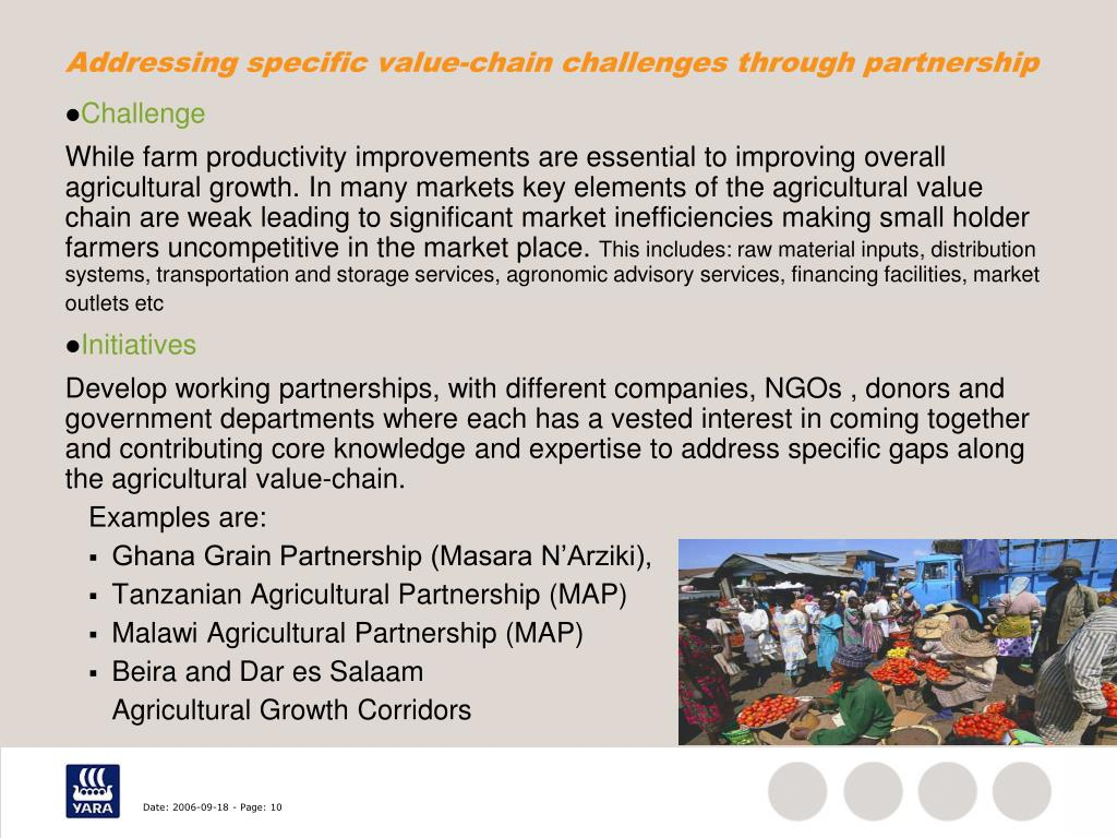 Addressing specific value-chain challenges through partnership