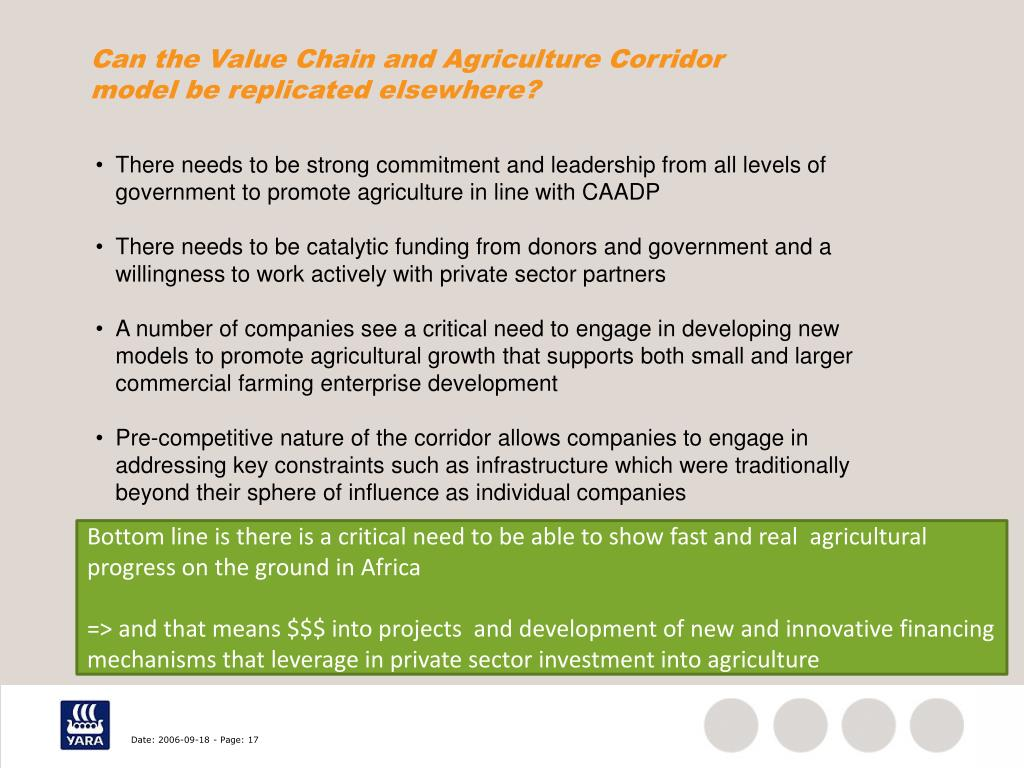 Can the Value Chain and Agriculture Corridor model be replicated elsewhere?