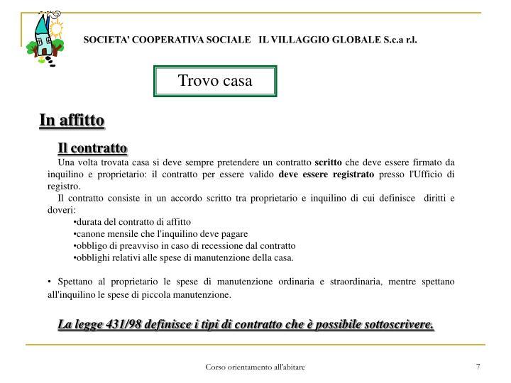 SOCIETA' COOPERATIVA SOCIALE   IL VILLAGGIO GLOBALE S.c.a r.l.