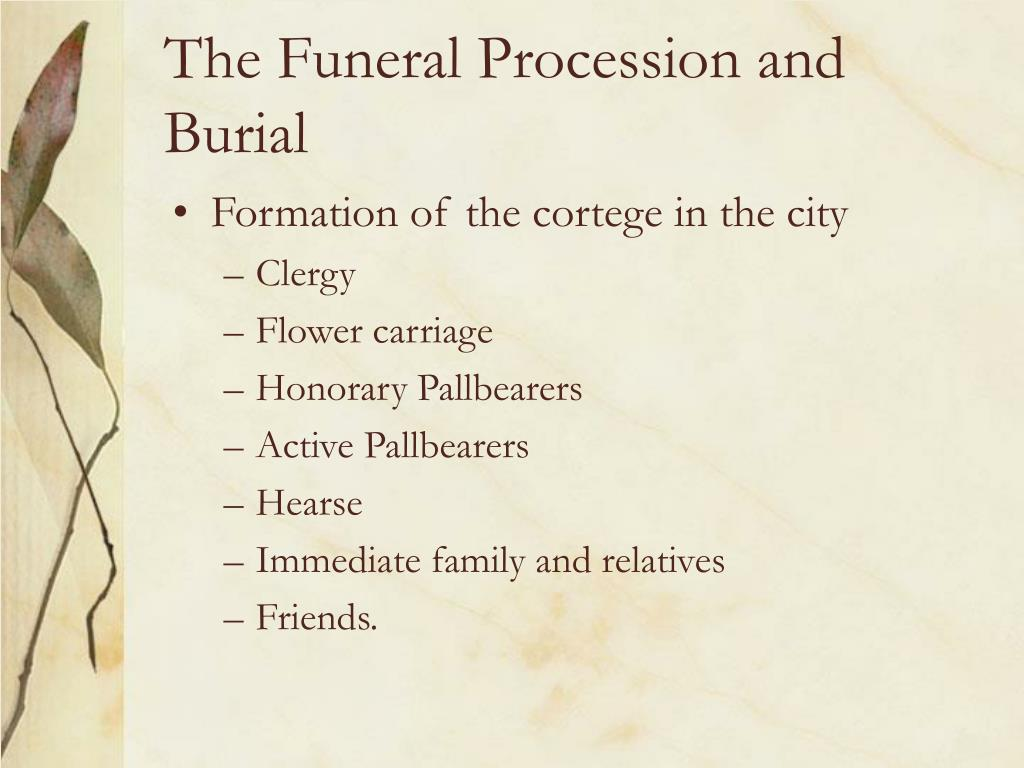 The Funeral Procession and Burial
