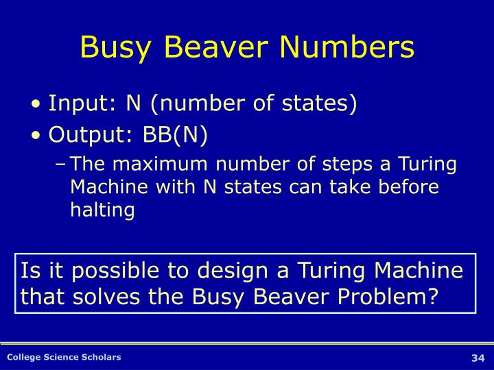 Busy Beaver Numbers