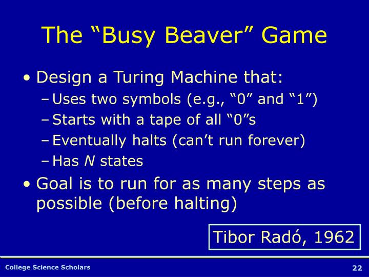 """The """"Busy Beaver"""" Game"""