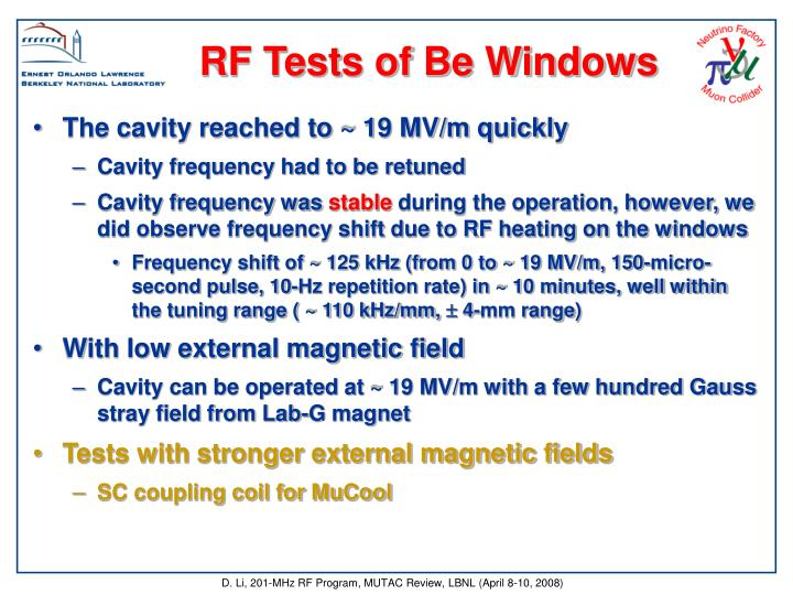 RF Tests of Be Windows