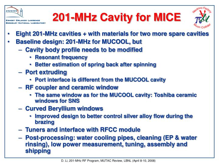 201-MHz Cavity for MICE