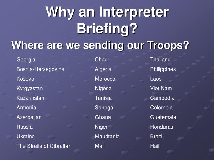 Why an interpreter briefing