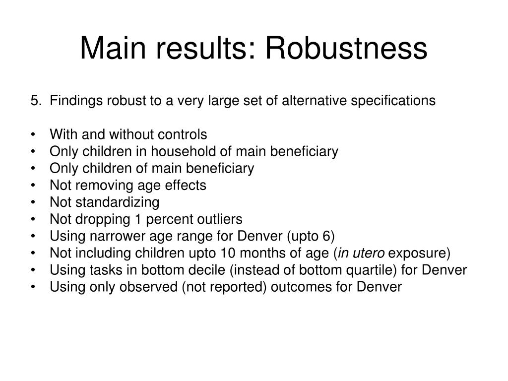 Main results: Robustness