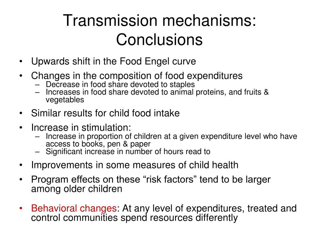 Transmission mechanisms: Conclusions