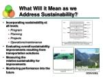 what will it mean as we address sustainability