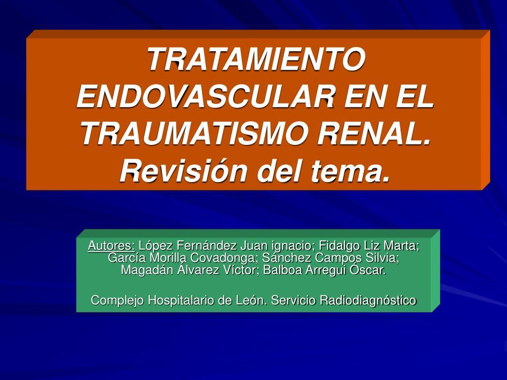 tratamiento endovascular en el traumatismo renal revisi n del tema l.