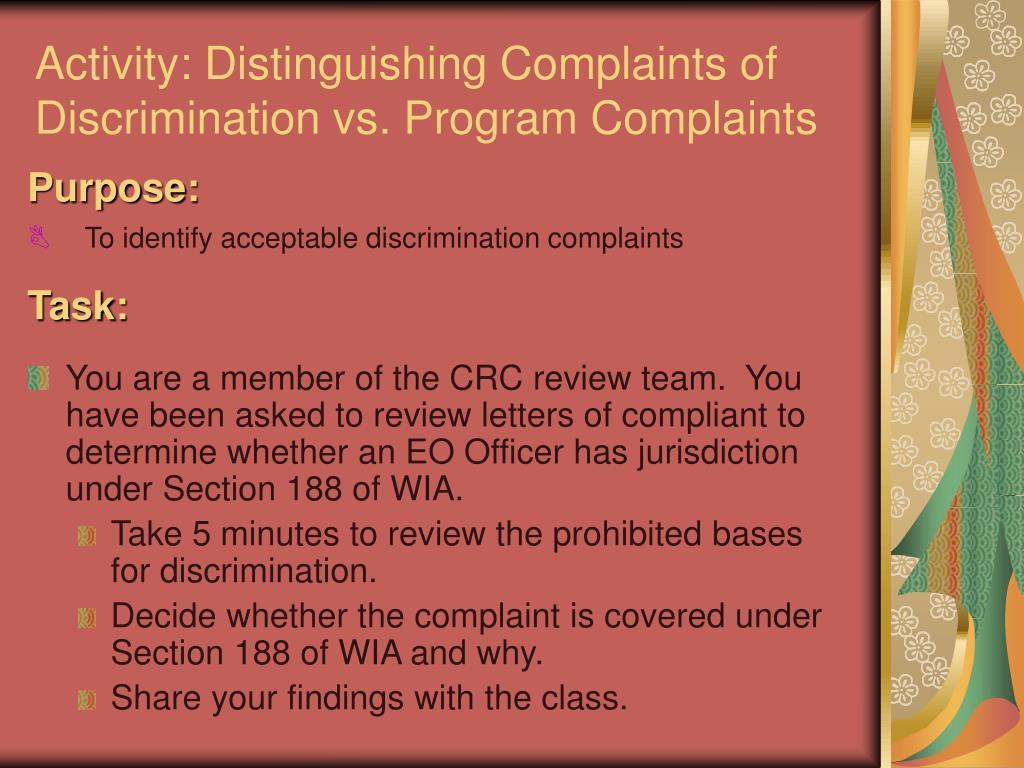 Activity: Distinguishing Complaints of Discrimination vs. Program Complaints