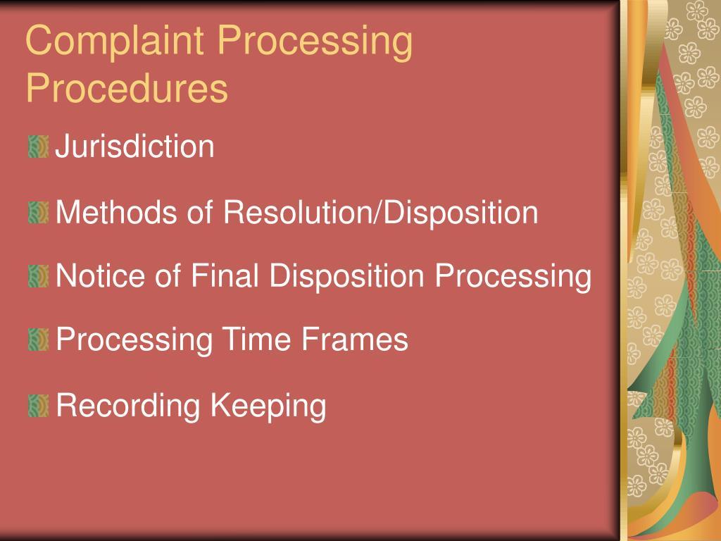 Complaint Processing Procedures