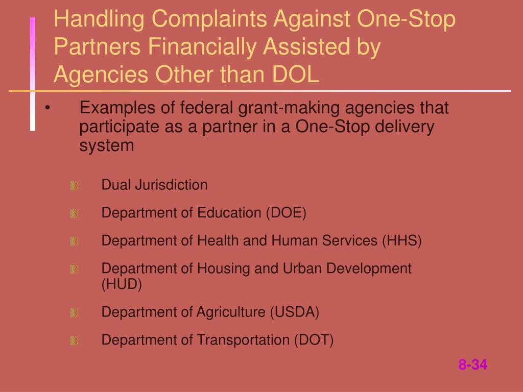 Handling Complaints Against One-Stop Partners Financially Assisted by Agencies Other than DOL