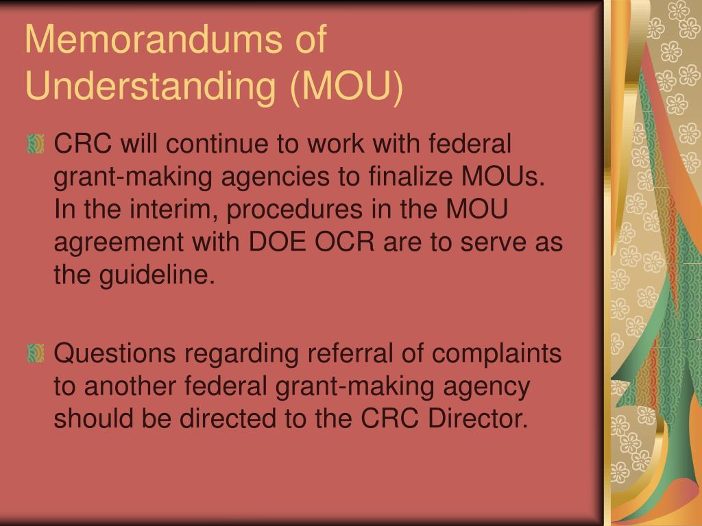 Memorandums of Understanding (MOU)