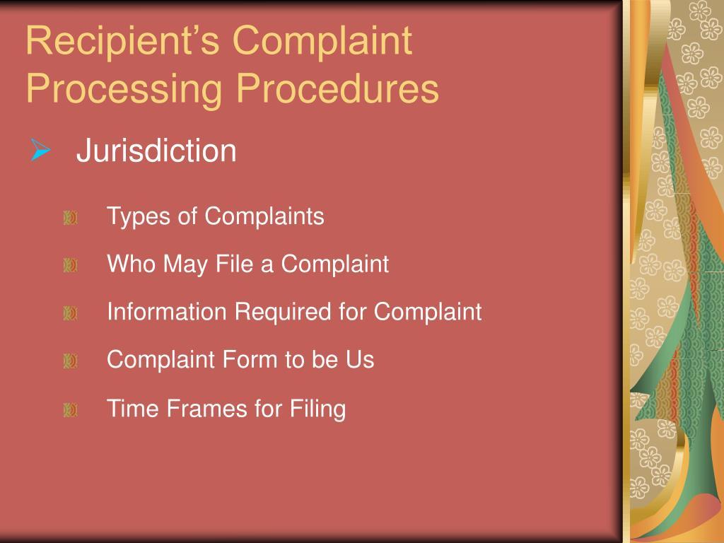 Recipient's Complaint