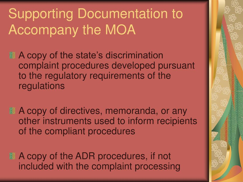 Supporting Documentation to Accompany the MOA