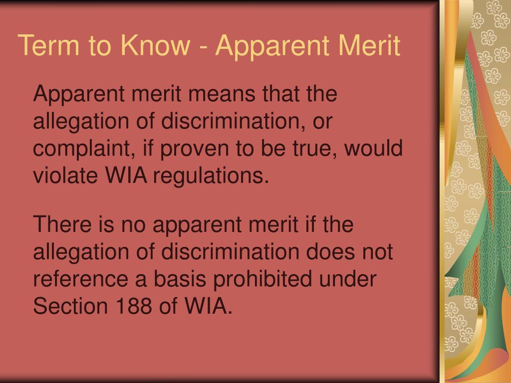 Term to Know - Apparent Merit