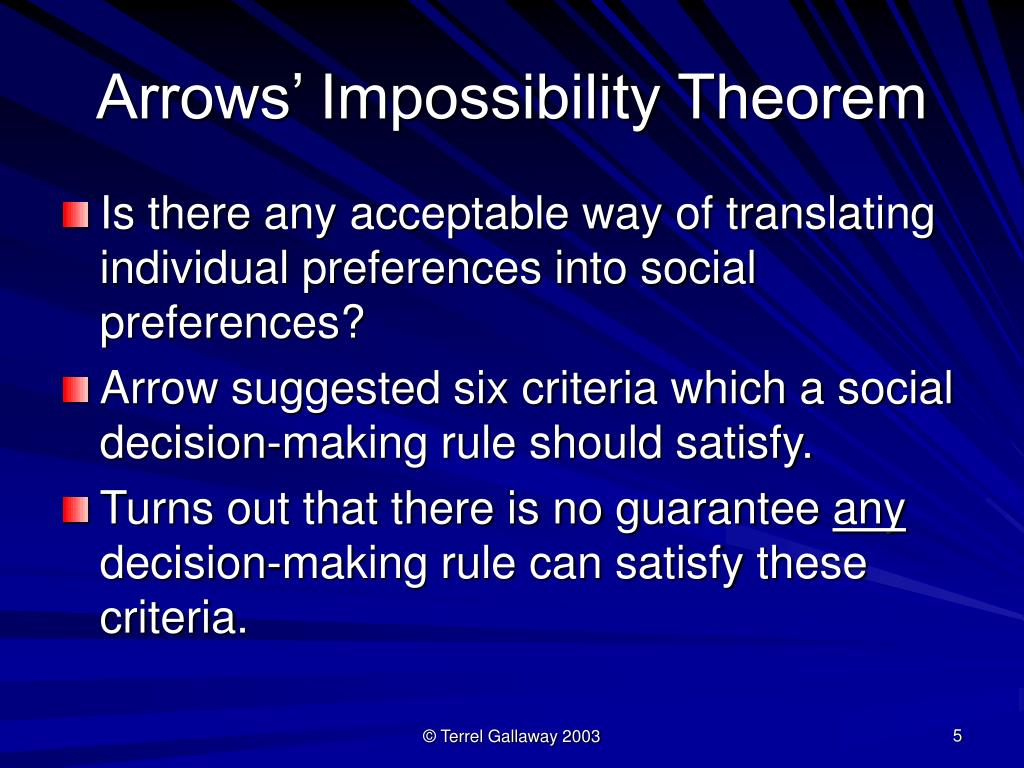 Arrows' Impossibility Theorem