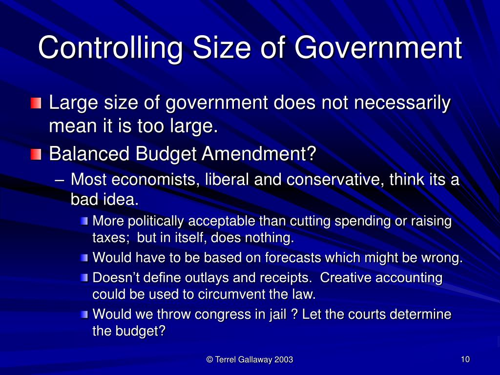 Controlling Size of Government