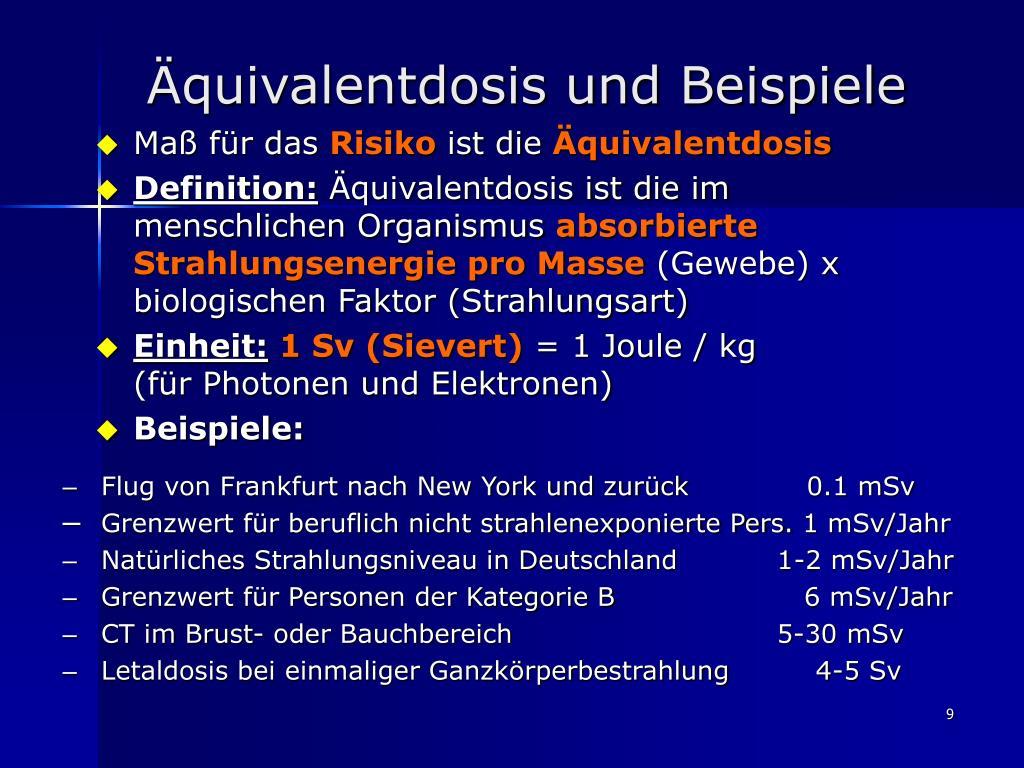 Äquivalentdosis und Beispiele