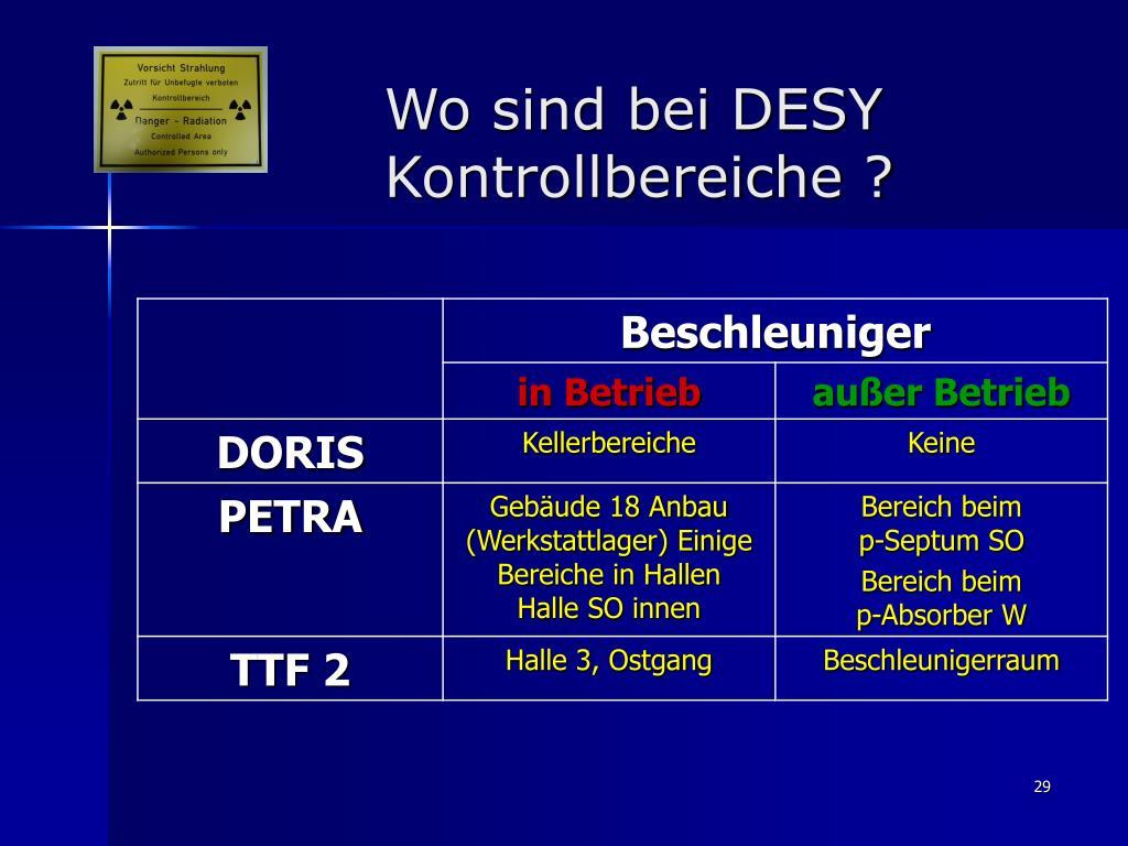 Wo sind bei DESY Kontrollbereiche ?