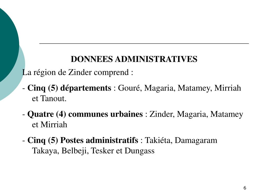DONNEES ADMINISTRATIVES