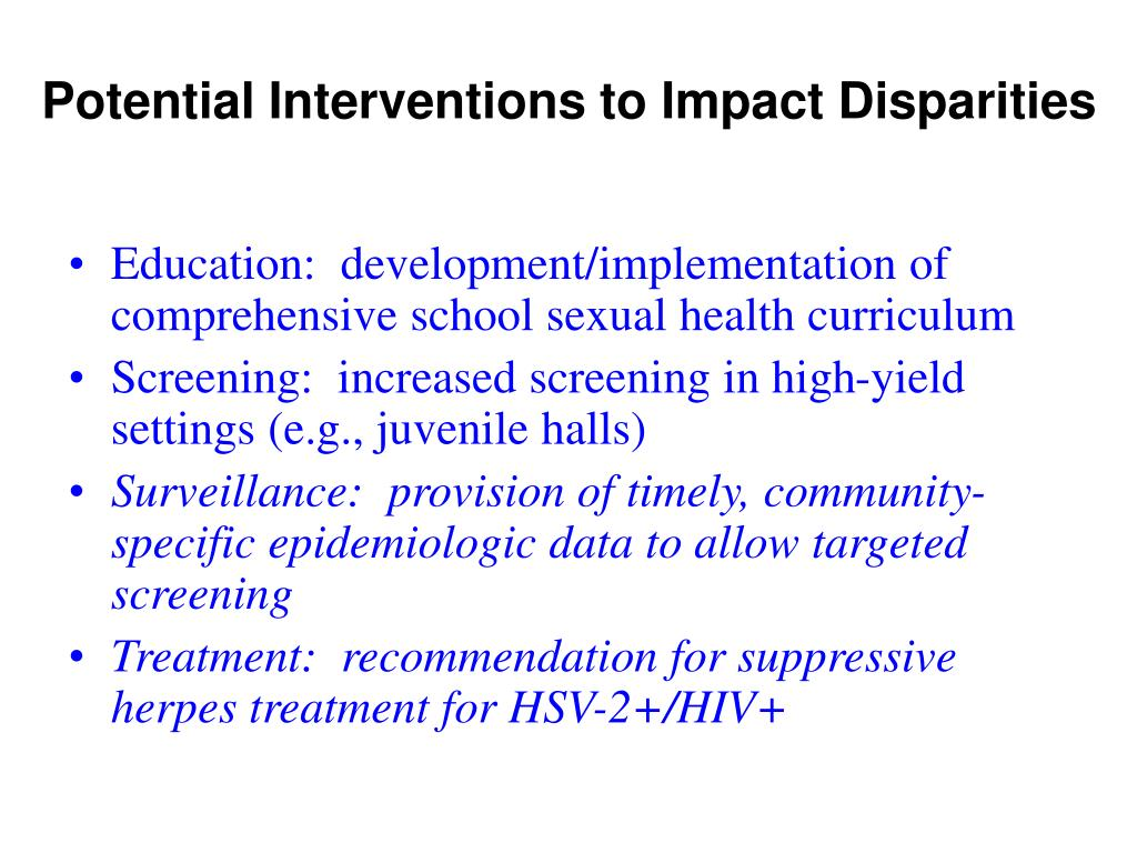 Potential Interventions to Impact Disparities