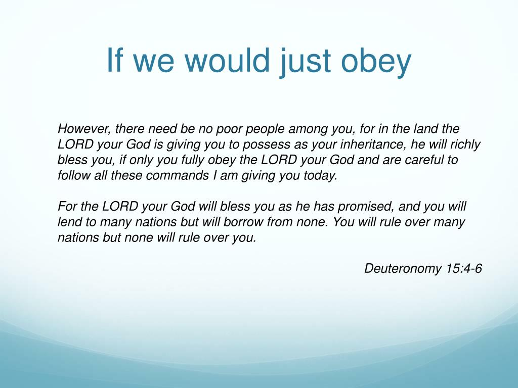 If we would just obey