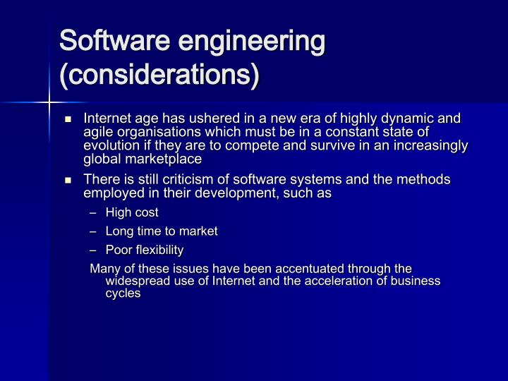 Software engineering (considerations)