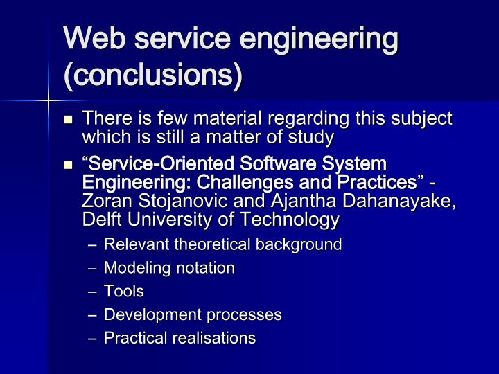 Web service engineering (conclusions)