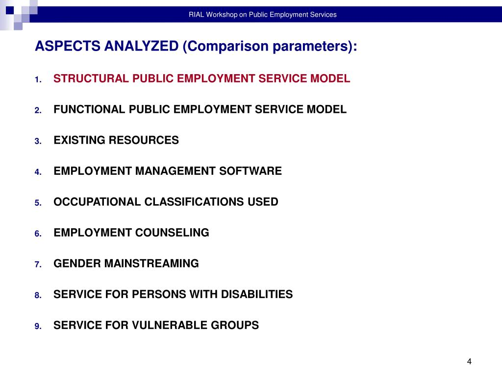 ASPECTS ANALYZED (Comparison parameters):
