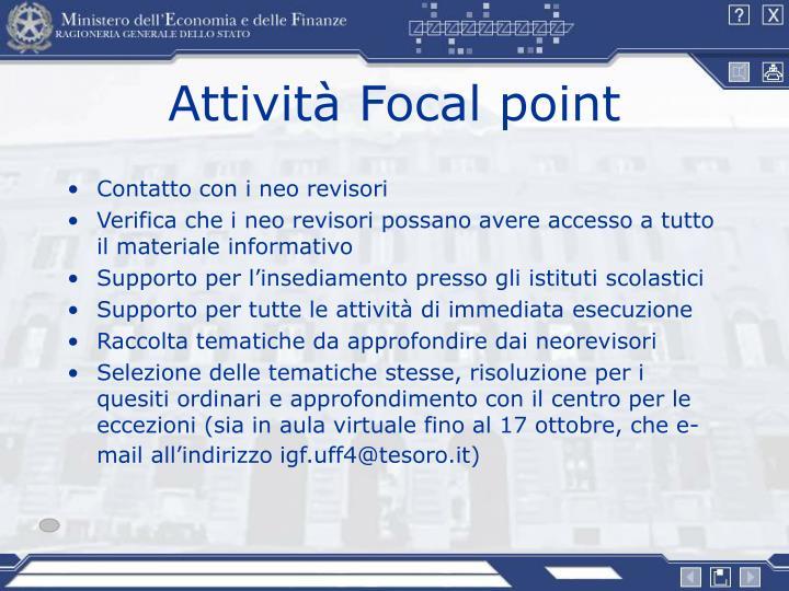 Attività Focal point