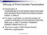 difficulty of prime number facotrization