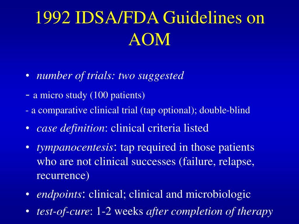 1992 IDSA/FDA Guidelines on AOM