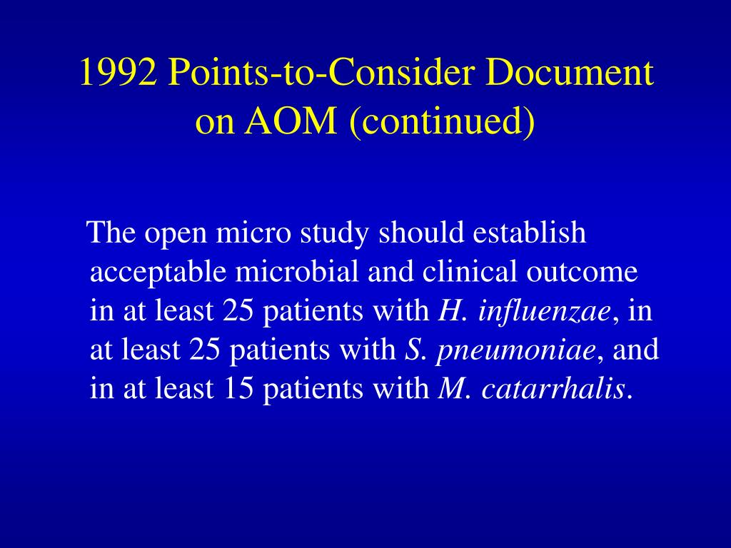 1992 Points-to-Consider Document on AOM (continued)