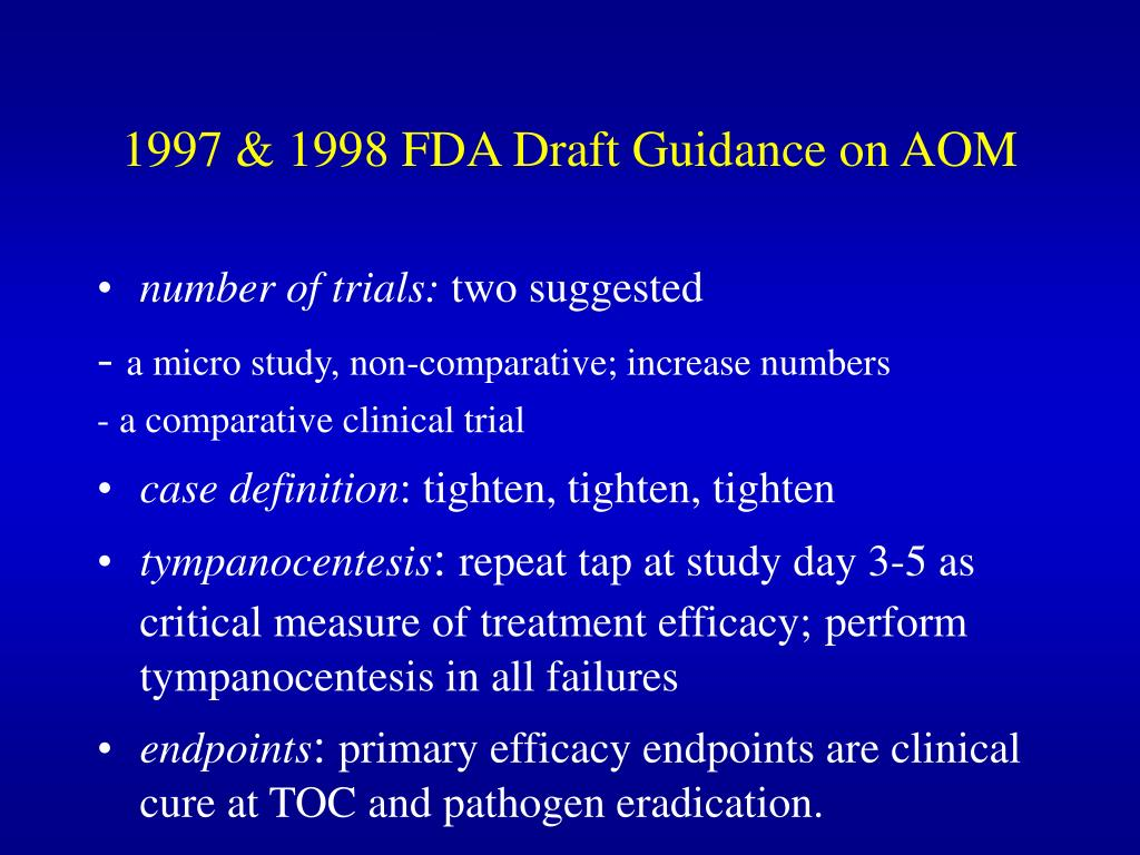 1997 & 1998 FDA Draft Guidance on AOM