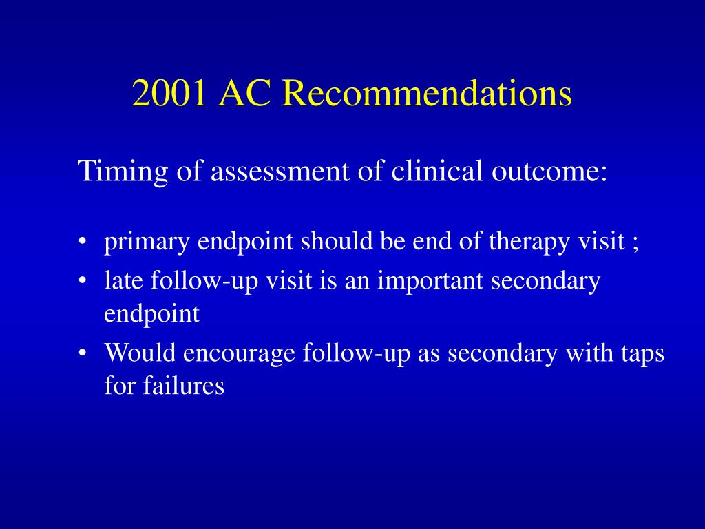 2001 AC Recommendations