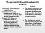 the government policies and current situation