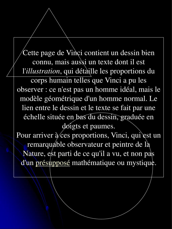 Cette page de Vinci contient un dessin bien connu, mais aussi un texte dont il est l'
