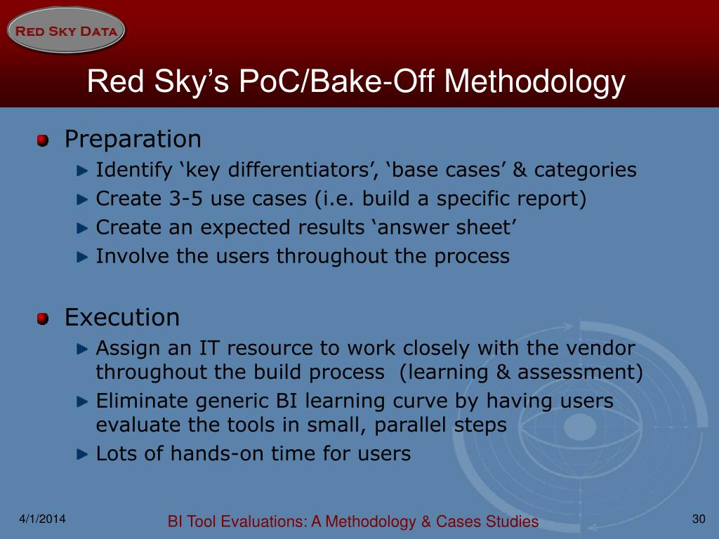Red Sky's PoC/Bake-Off Methodology