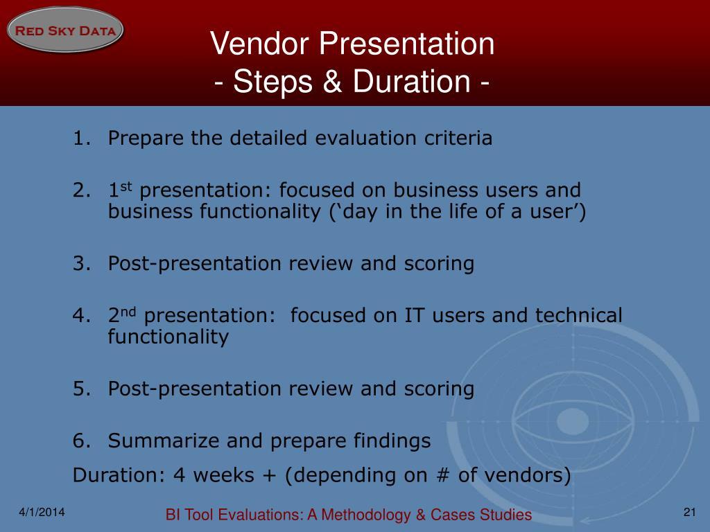 Vendor Presentation