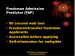 freshman admission predictor fap