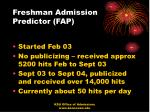 freshman admission predictor fap13