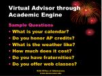 virtual advisor through academic engine