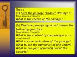 task 1 a skim the passage titanic passage 1 time allowed 2 minutes what is the theme of the passage