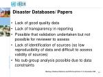 disaster databases papers
