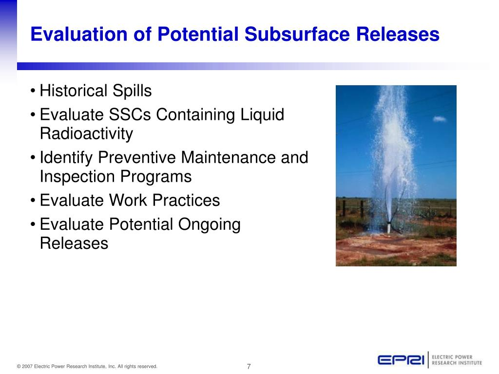 Evaluation of Potential Subsurface Releases