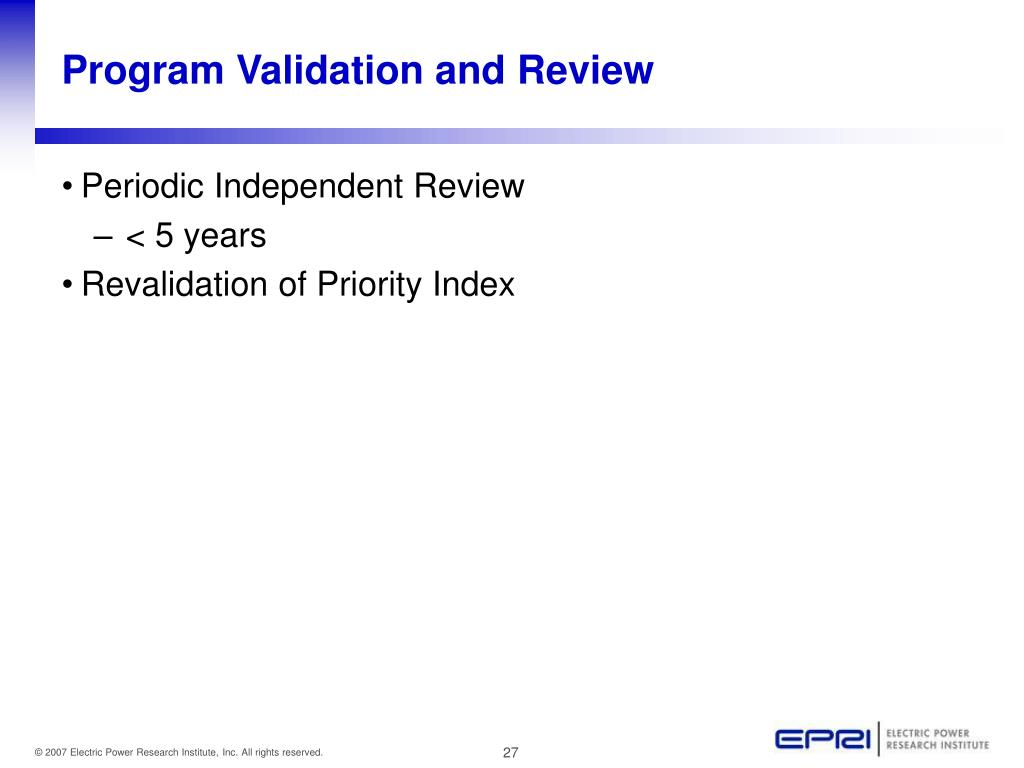 Program Validation and Review