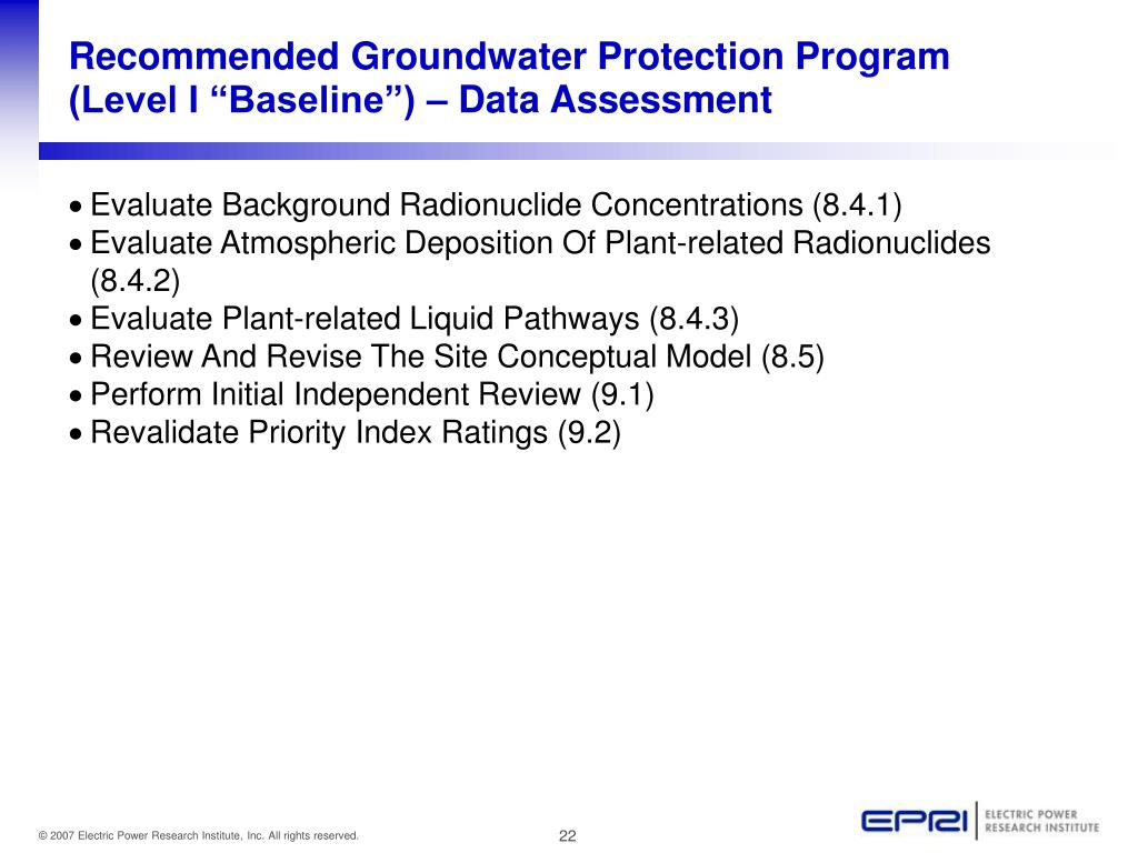 "Recommended Groundwater Protection Program (Level I ""Baseline"") – Data Assessment"