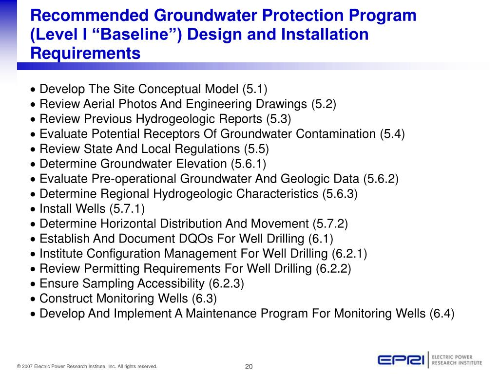 """Recommended Groundwater Protection Program (Level I """"Baseline"""") Design and Installation Requirements"""